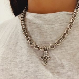 Silver Chain Cross Necklace